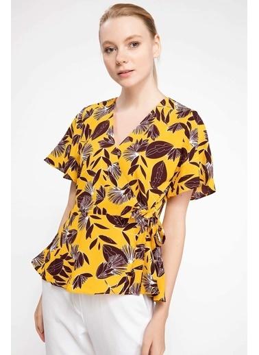 DeFacto Floral Desenli Kruvaze Bluz Sarı